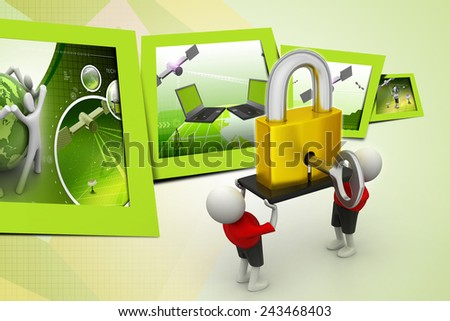 3D people  holding a   padlock - stock photo