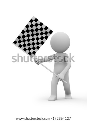 3d people holding Checker Flag - stock photo