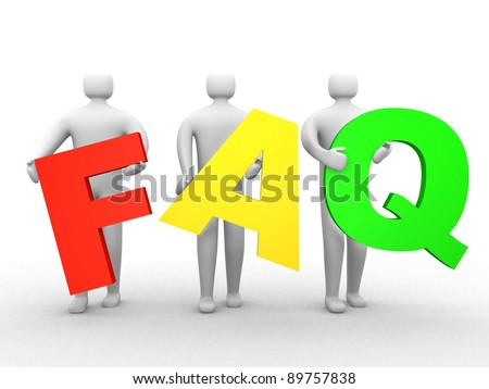 3d people holding Friendly asked question sign. This is 3d render illustration - stock photo