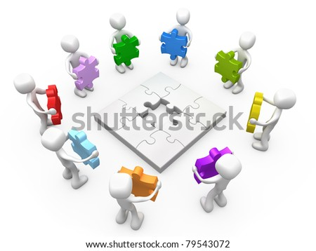 3d people holding various coloured puzzle pieces around a jigsaw puzzle with a gap in the center. - stock photo