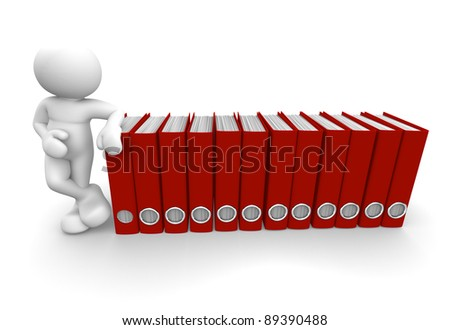 3d people - human character and archive folders. 3d render illustration - stock photo