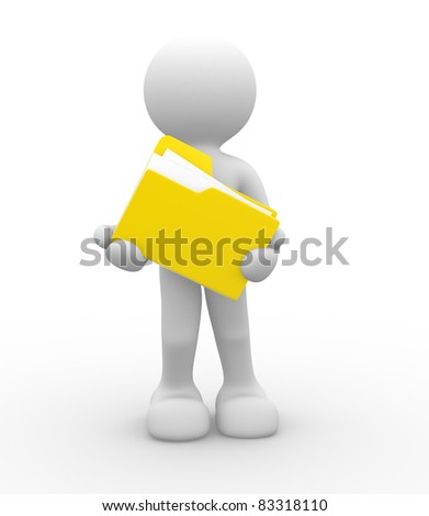 3d people - human character and folder. 3d render illustration - stock photo