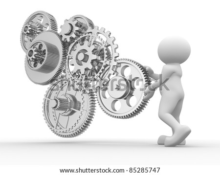 3d people - human character and gear mechanism. 3d render illustration - stock photo