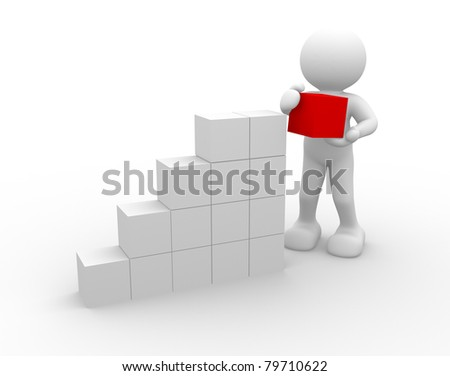 3d people - human character and last cube. 3d render illustation - stock photo