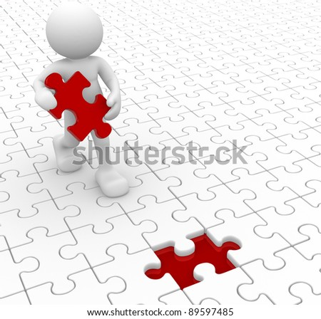3d people - human character and missing piece - jigsaw. 3d render - stock photo