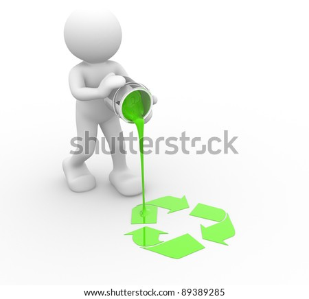 3d people - human character and recycle symbol. 3d render illustration - stock photo