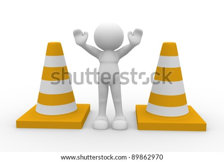 3d people - human character and traffic coins. 3d render illustration - stock photo