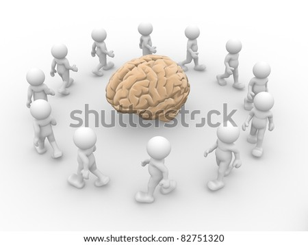 3d people - human character and yellow brain. 3d render illustration - stock photo