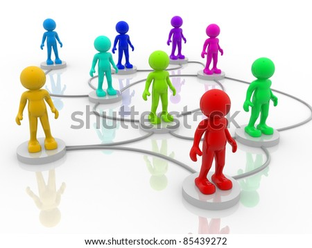 3d people- human character arranged in a network. 3d render illustration - stock photo