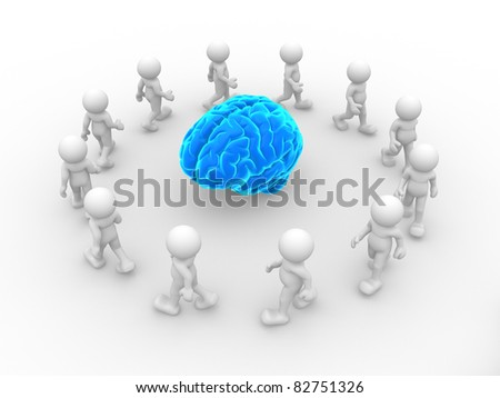 3d people- human character end blue brain. This is a 3d render illustration - stock photo