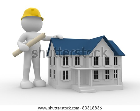 3d people- human character - engineer and house. 3d render illustration - stock photo