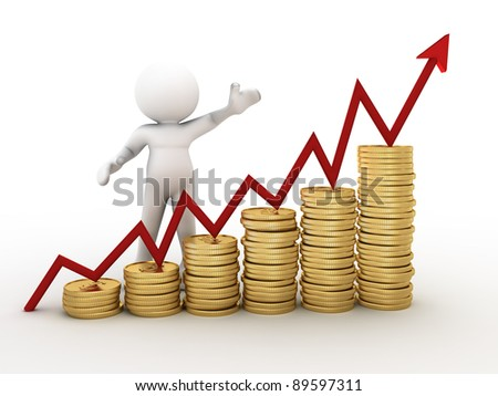 3d people - human character,  financial diagram consisting of conceptual golden coins - 3d render - stock photo