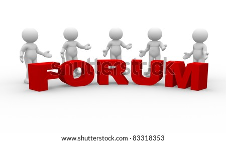 """3d people - human character. Five men talking and word """"Forum"""". 3d render illustration - stock photo"""