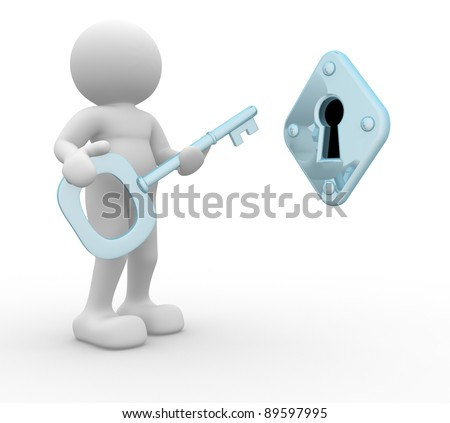 3d people - human character , key and keyhole. This is a 3d render illustration - stock photo