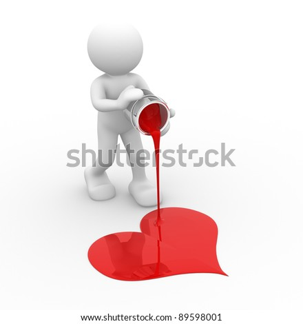 3d people - human character, painting  the heart. 3d render illustration - stock photo