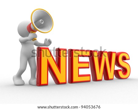 3d people - human character , person and a megaphone. News concept. 3d render illustration - stock photo