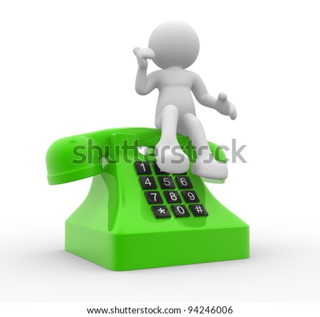 3d people - human character , person and a telephone. 3d render - stock photo