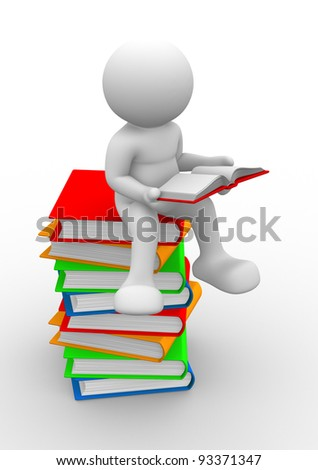 3d people - human character, person and books. 3d render illustration - stock photo