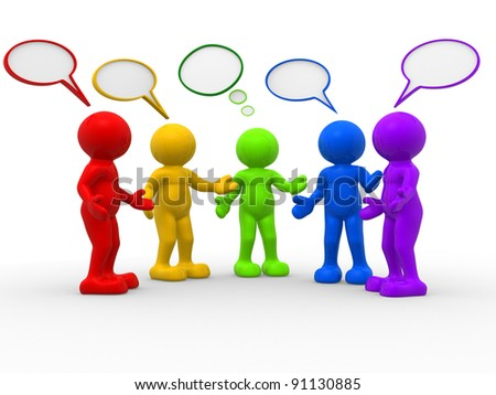 3d people - human character , person and speech bubbles . 3d render illustration - stock photo