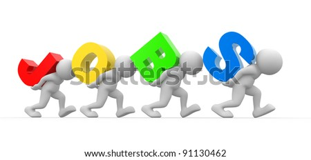 "3d people - human character ,  person  and the word ""jobs"" .  3d render - stock photo"