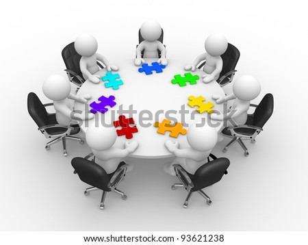 3d people - human character , person at  a round table and puzzle pieces ( jigsaw) . 3d render illustration - stock photo