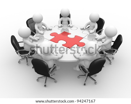 3d people - human character , person at a round table and puzzle pieces ( jigsaw). 3d render illustration - stock photo