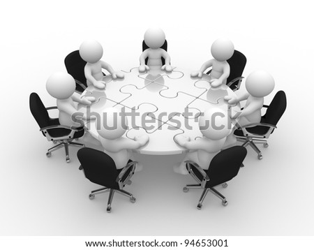 3d people - human character, person at a round table with puzzle pieces ( jigsaw) . 3d render - stock photo