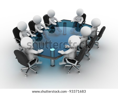 3d people - human character, person at conference table . 3d render - stock photo