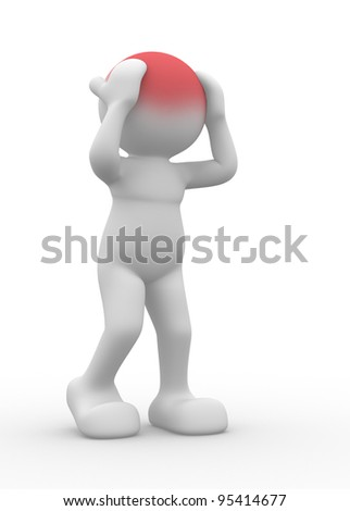 3d people - human character, person, headache. Stress concept , depressed. 3d render - stock photo