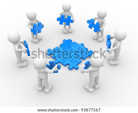 3d people - human character , person in circle, and puzzle pieces ( jigsaw ). 3d render - stock photo