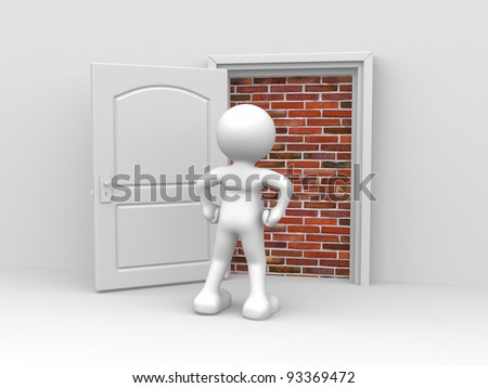 3d people - human character, person in front of a locked door with bricks (built) . 3d render illustration - stock photo
