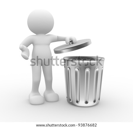 3d people - human character , person standing next to a trash can . 3d render - stock photo