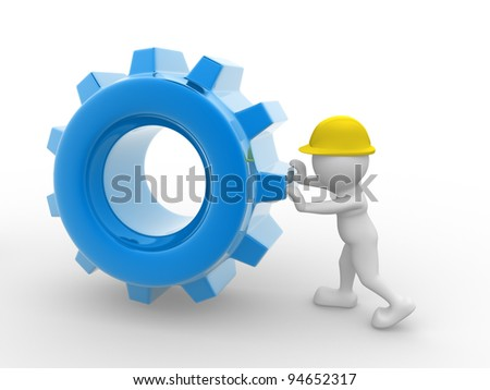 3d people - human character, person with a helmet and gear mechanism. Worker. 3d render - stock photo
