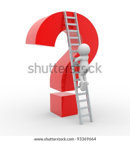 3d people - human character , person with a ladder and an question mark . 3d render - stock photo