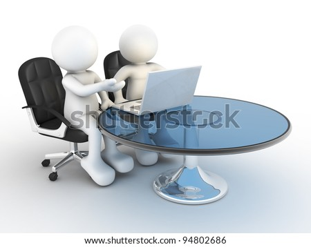 3d people - human character, person   with a laptop to a office. Colleagues. 3d render - stock photo