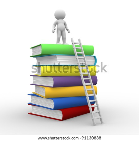 3d people - human character ,  person with books and a ladder.  3d render illustration - stock photo