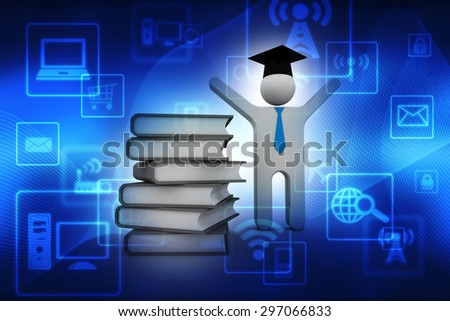 3d people - human character person with books and graduation cap. 3d render illustration - stock photo
