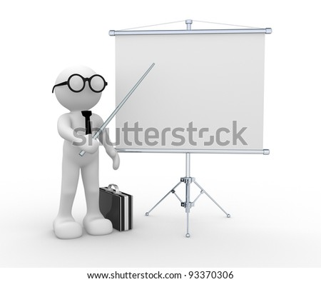 3d people - human character , person with briefcase and  empty flipchart . 3d render - stock photo