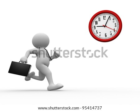 3d people - human character, person with briefcase run time. Businessman and a clock. 3d render - stock photo