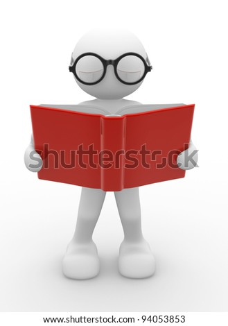 3d people - human character, person with eyeglasses and open book. Education concept . 3d render - stock photo