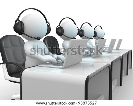 3d people - human character , person with headphone and a laptop. Call center.  3d render illustration - stock photo