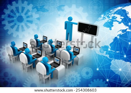 3d people - human character , person with pointer in hand close to blackboard. Concept of education and learning. 3d render illustration - stock photo