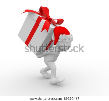3d people - human character Santa Claus with box of gifts. 3d render illustration - stock photo