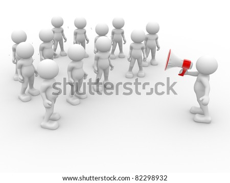 3d people- human character speaking at megaphone in front of the crowd. 3d render illustration - stock photo