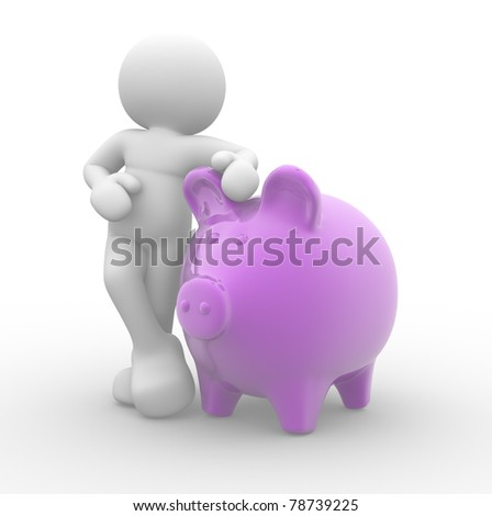 3d people, human character supported and piggy bank - 3d render illustration - stock photo