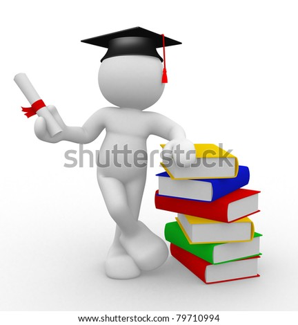 3d people - human character with graduation and books. 3d render illustration - stock photo