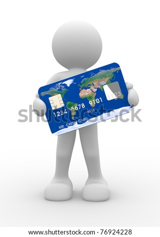 3d people icon with a credit card on a white background - This is a 3d render illustration - stock photo