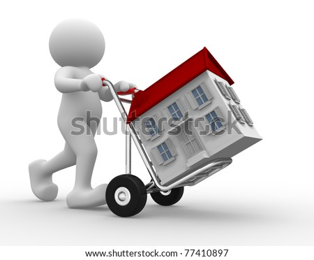 3d people icon with house on hand truck -This is a 3d render illustration - stock photo