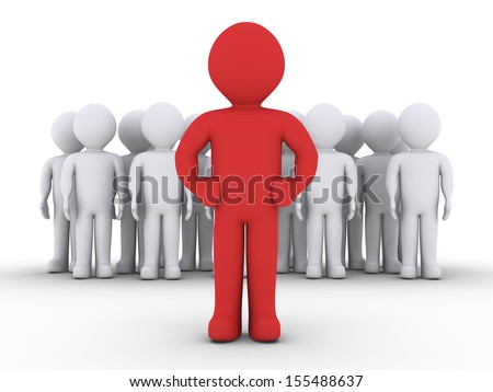 3d people in a group and their leader in front of them - stock photo