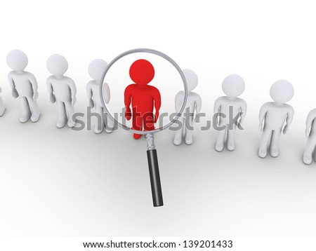 3d people in a row and one is zoomed by magnifier - stock photo